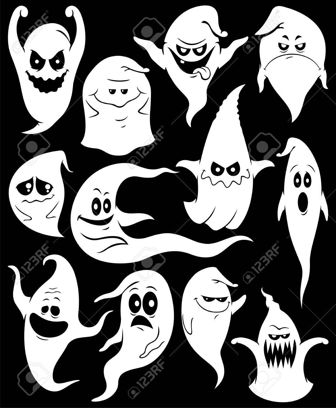 Set of 12 spooky ghosts. Stock Vector - 17792066