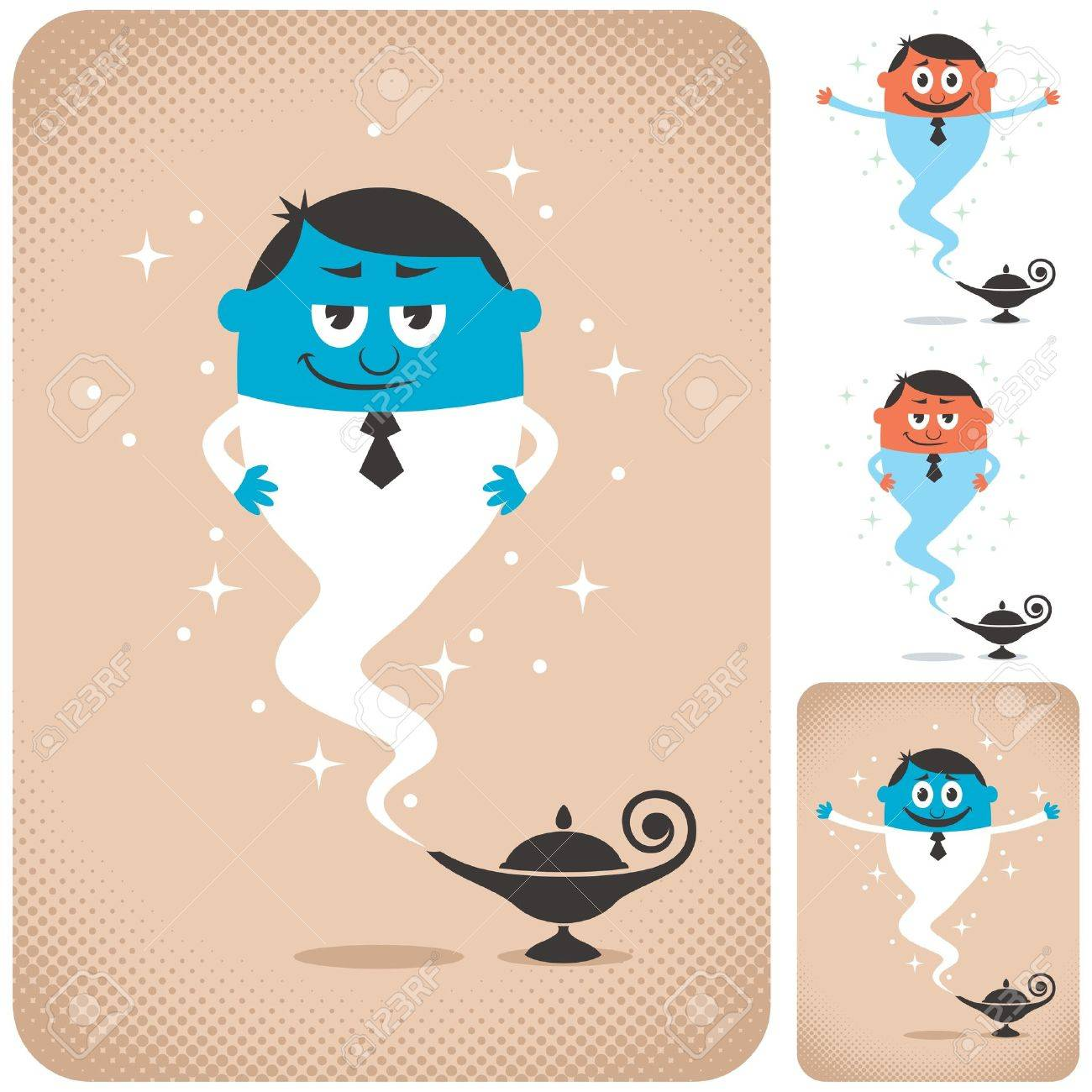 Genie coming out of magic lamp. The illustration is in 4 different versions. Stock Vector - 17792068