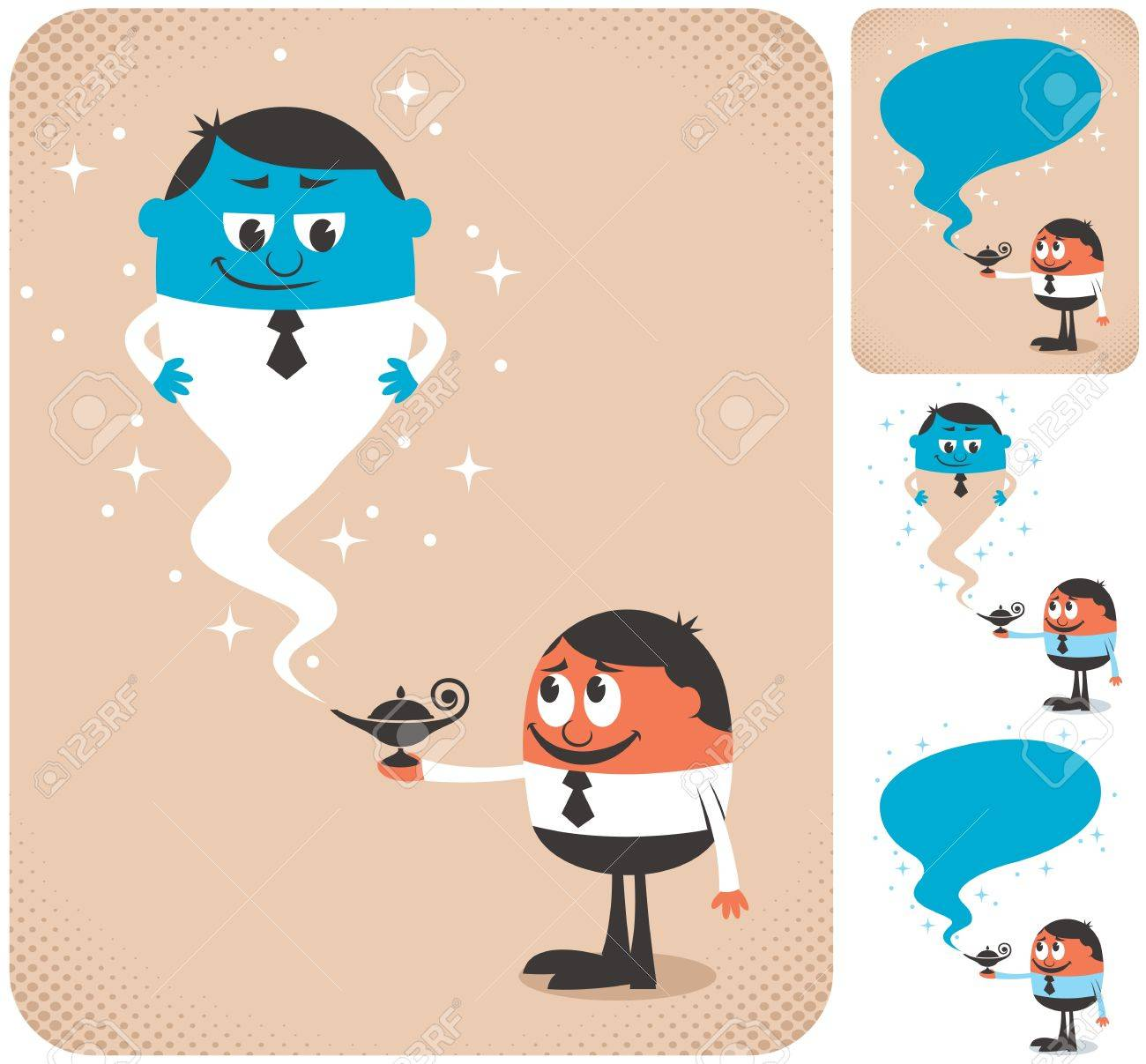 Businessman calling genie to assist him. The illustration is in 4 different versions. Stock Vector - 17792070