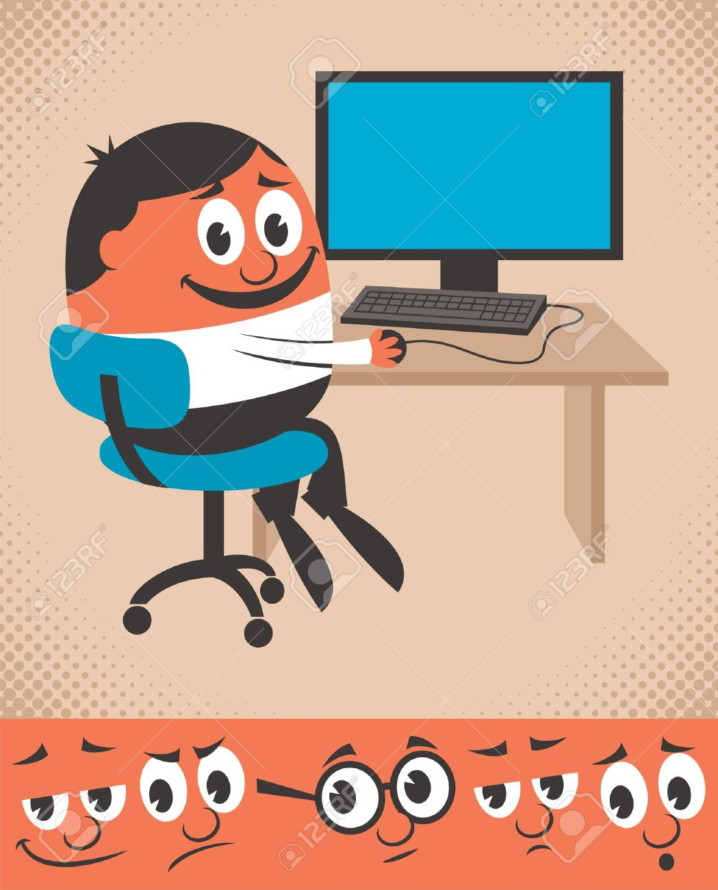 Cartoon character working on desktop computer. You can change his face expression, picking from the 5 additional faces below. The position of his nose is a constant. Use it as guide for the next face. Stock Vector - 18009893
