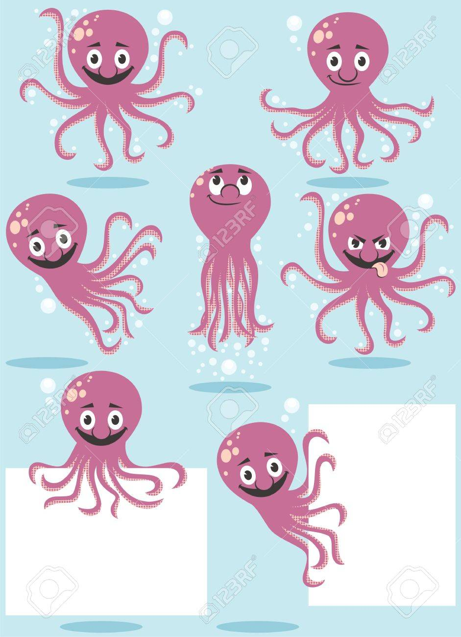 Cartoon octopus in 7 poses  No transparency and gradients used Stock Vector - 18305814