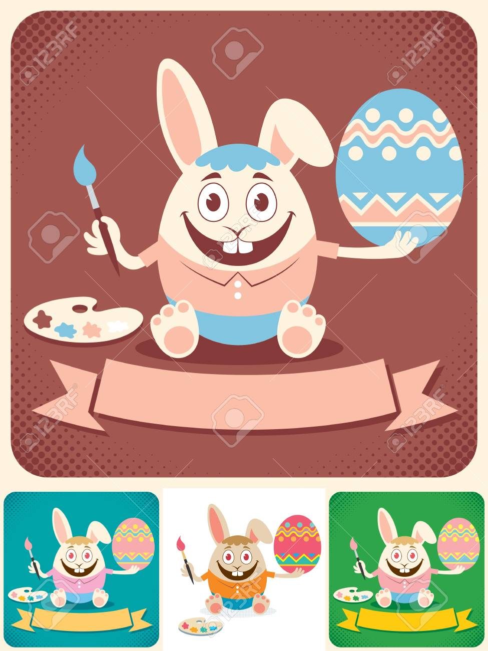 Easter bunny painting an egg. Illustration is in 4 versions. No transparency and gradients used. Stock Vector - 18762190