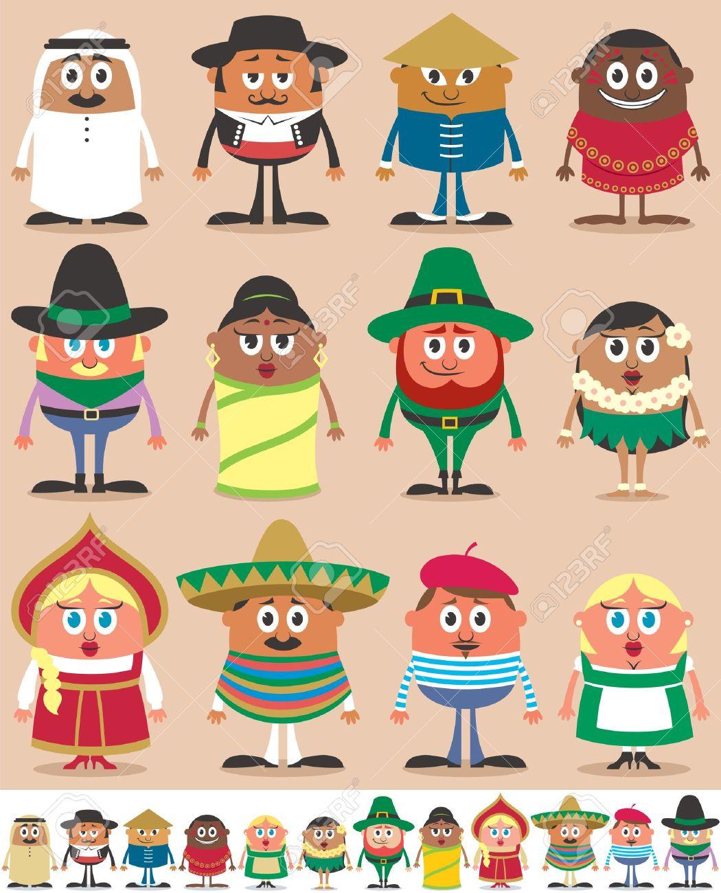 Juego de 12 personajes vestidos con diferentes trajes nacionales. Cada personaje está en dos versiones de color dependiendo del fondo. Ninguna transparencia y gradientes usados. Foto de archivo - 18952033
