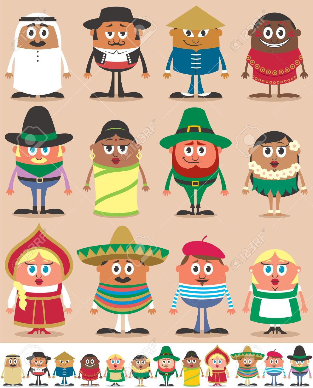 Set of 12 characters dressed in different national costumes. Each character is in 2 color versions depending on the background. No transparency and gradients used. Stock Vector - 18952033