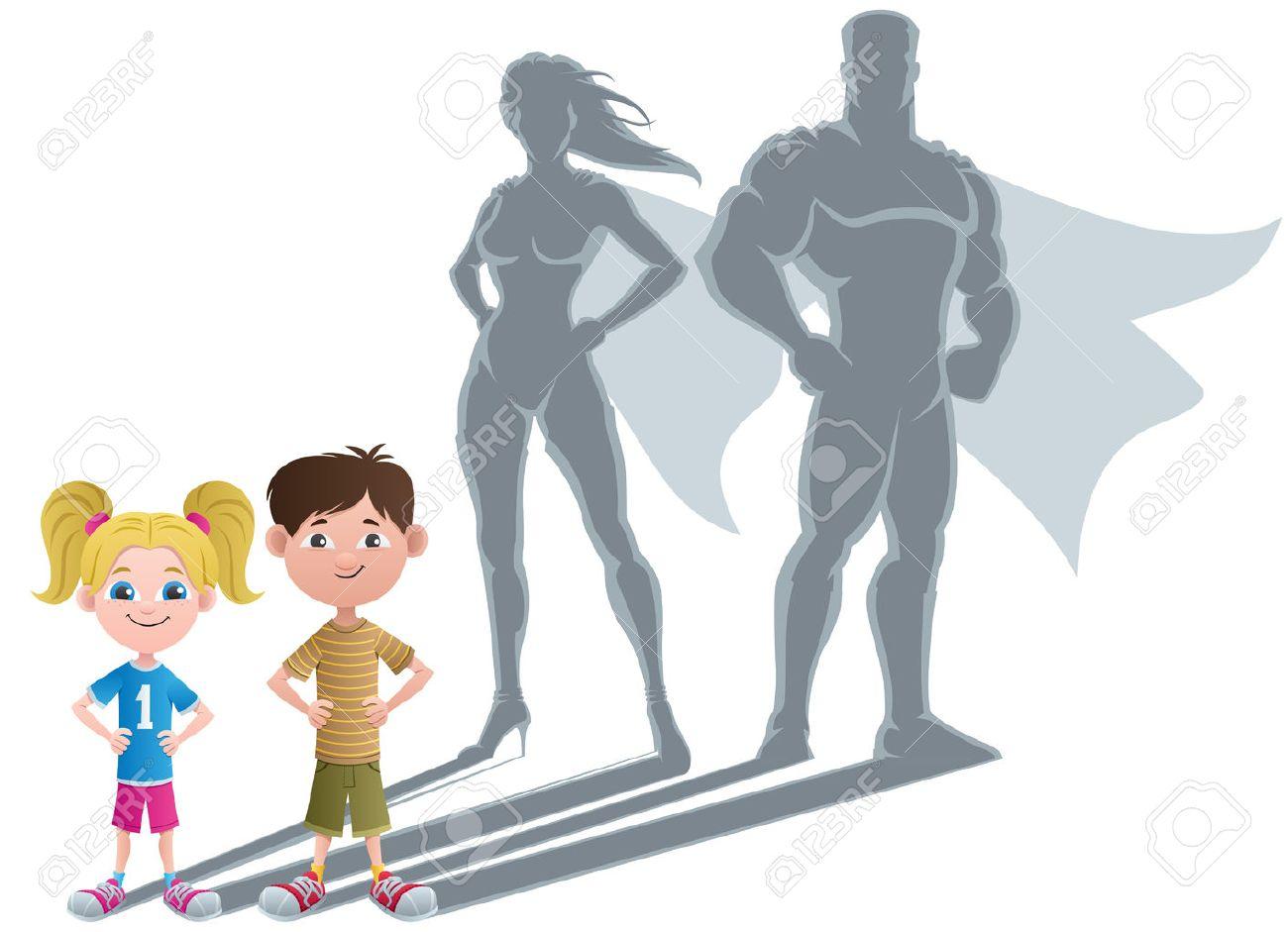 Conceptual illustration of little children with superhero shadows. - 25626946