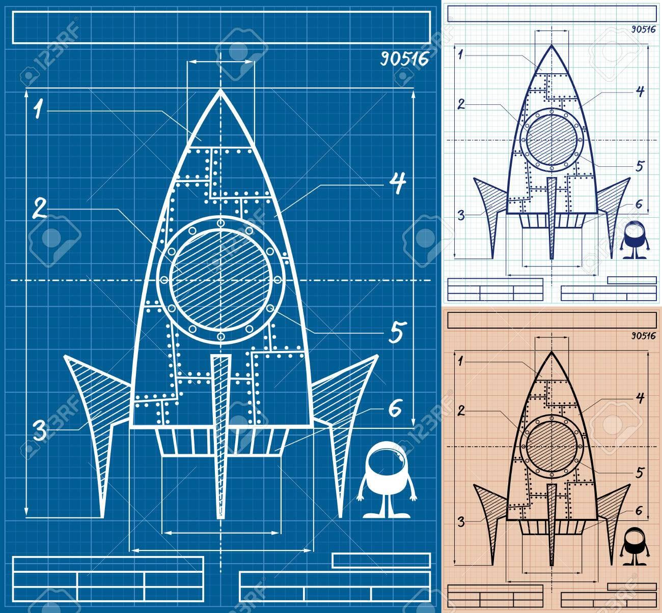 cartoon blueprint of rocket ship in 3 versions no transparency