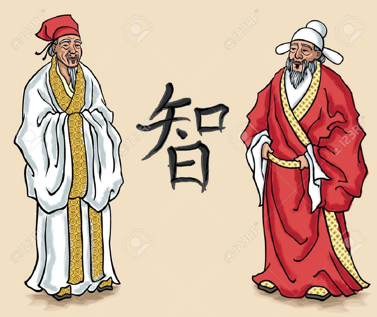 中国人の年長者のイラストないの透明度とグラデーションの使用します