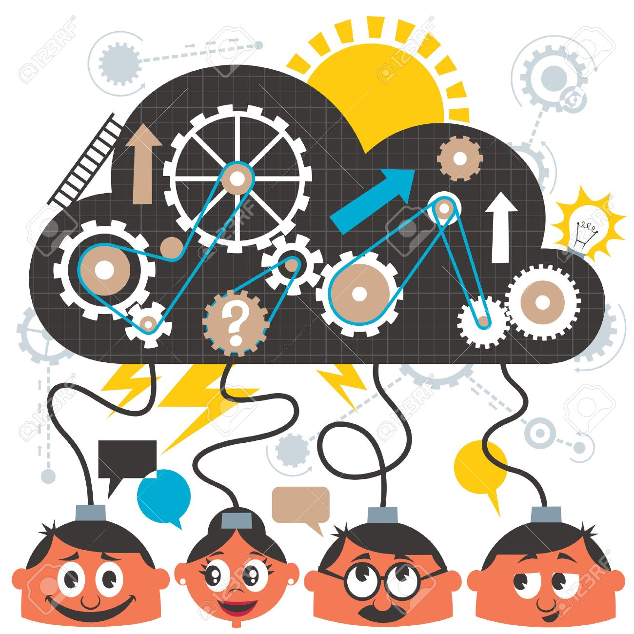 group of people brainstorming no transparency and gradients rh 123rf com person brainstorming clipart person brainstorming clipart