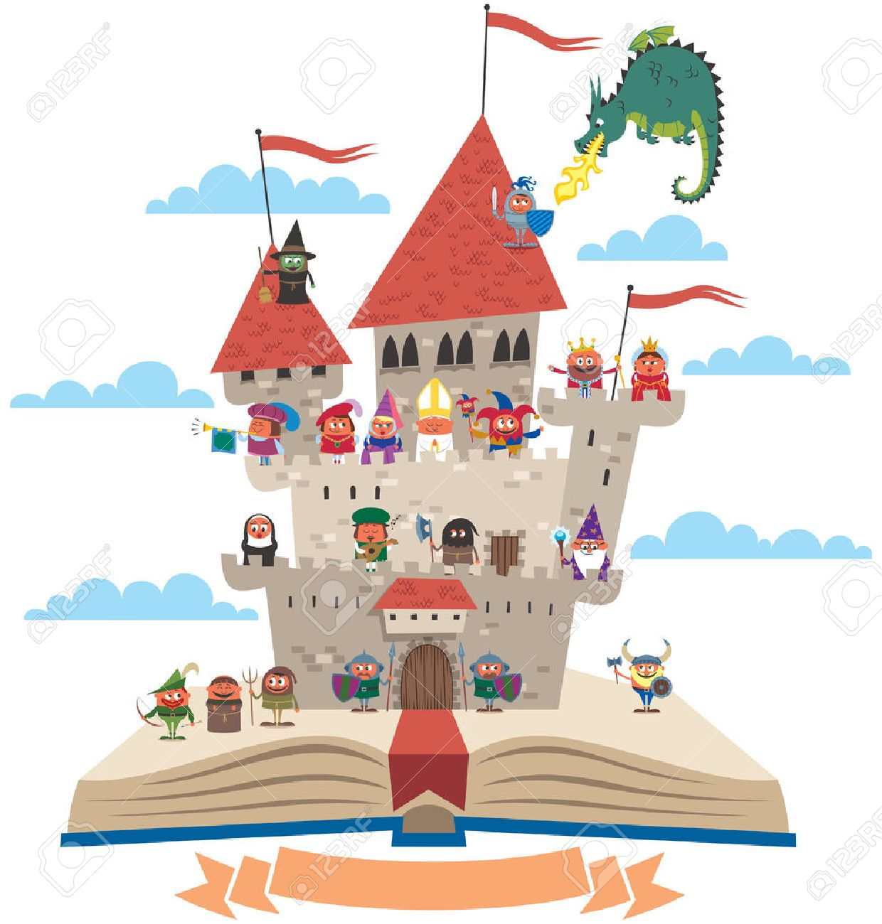 Open book with fairy tale castle on it, on white background. No transparency and gradients used. - 45028467