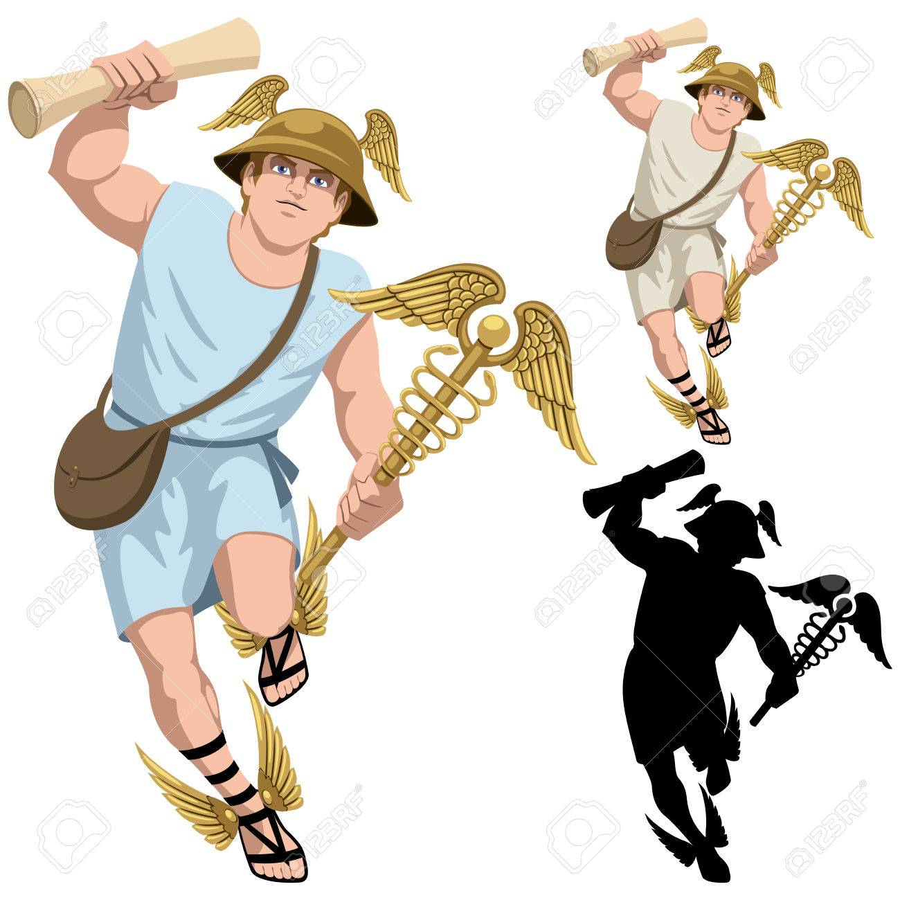greek god hermes isolated on white and in 3 versions royalty free