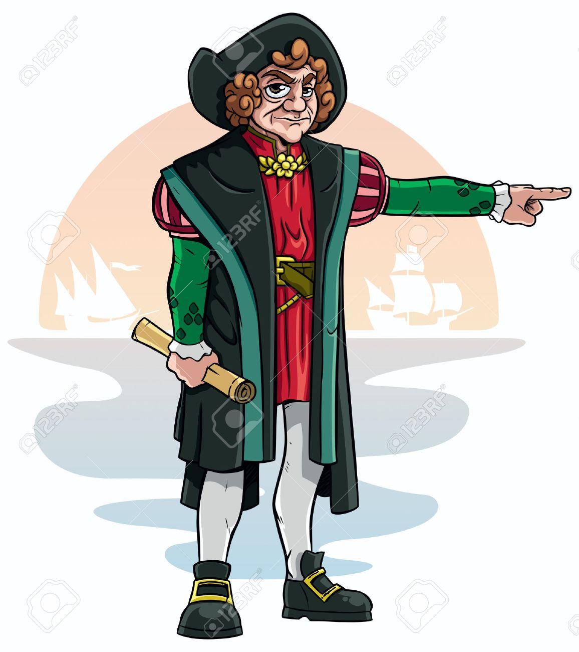 De Dibujos Animados De Cristóbal Colón Ilustraciones Vectoriales