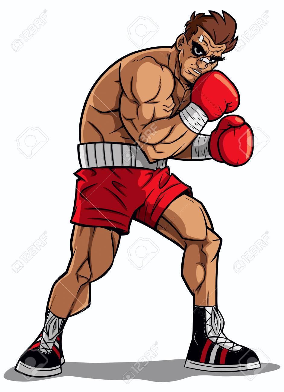 白い背景の上のボクサーのイラスト のイラスト素材 ベクタ Image