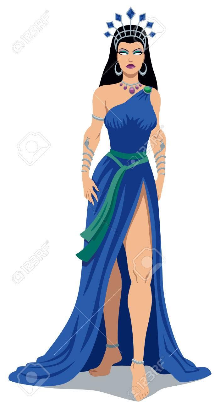 Illustration Of Greek Goddess Hera Over White Background Royalty