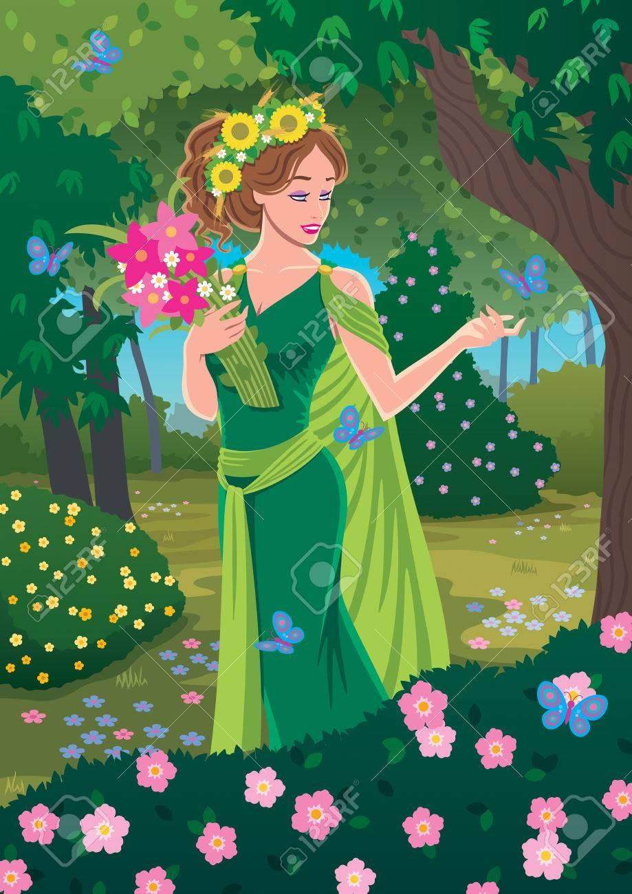 Greek Goddess Demeter Bringing Spring In The Forest Royalty Free