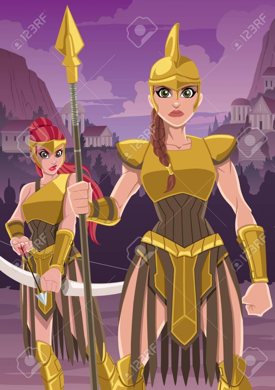 Amazon Warriors Fotos cartoon illustration of fierce amazon warriors ready to defend..