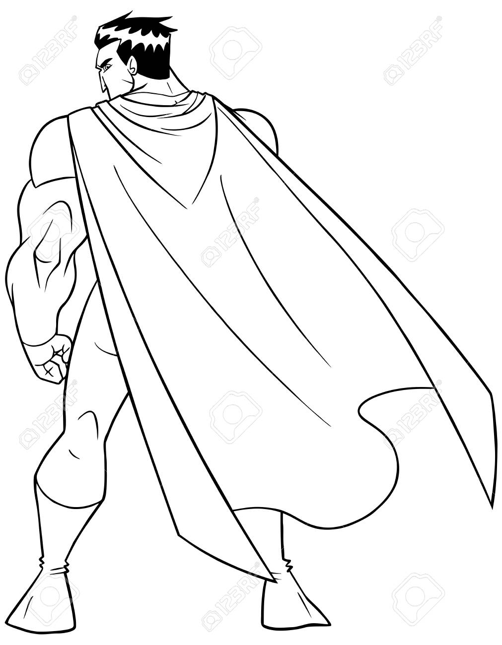 Line art full length rear view of a powerful superhero with cape