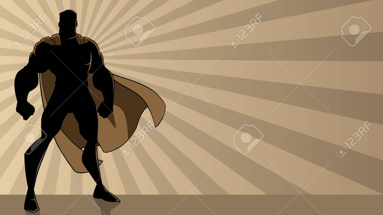Superhero standing tall on abstract ray light background with copy space. - 120435705