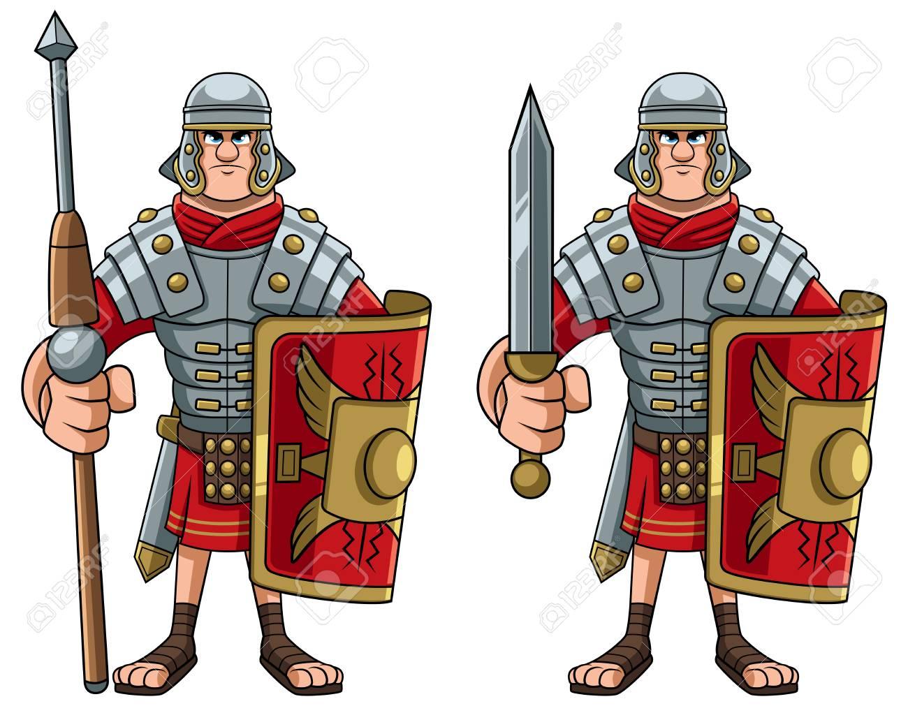Illustration of Roman soldier in full battle gear. - 124710625