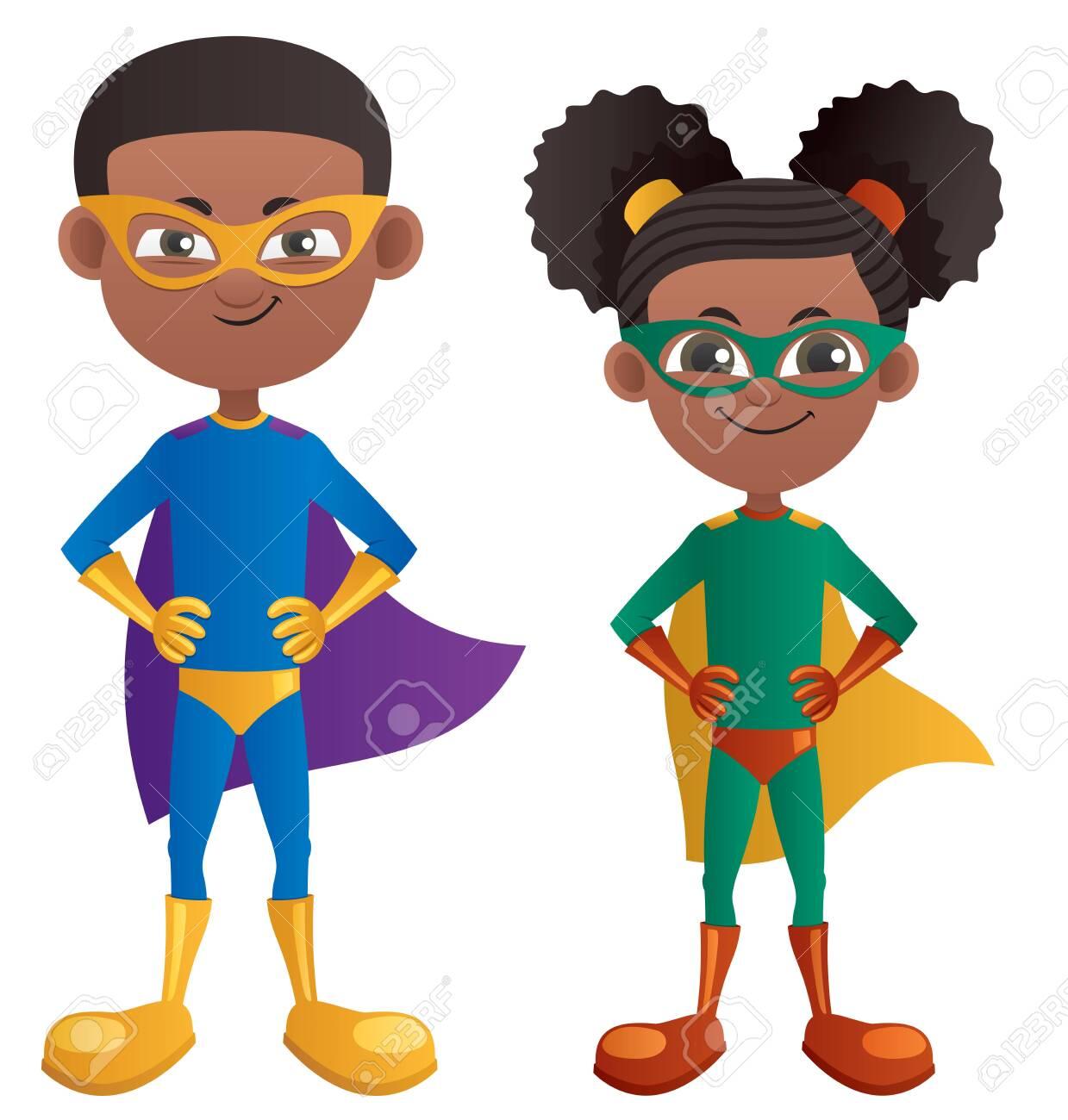 Illustration of cartoon super boy and super girl. - 128028091