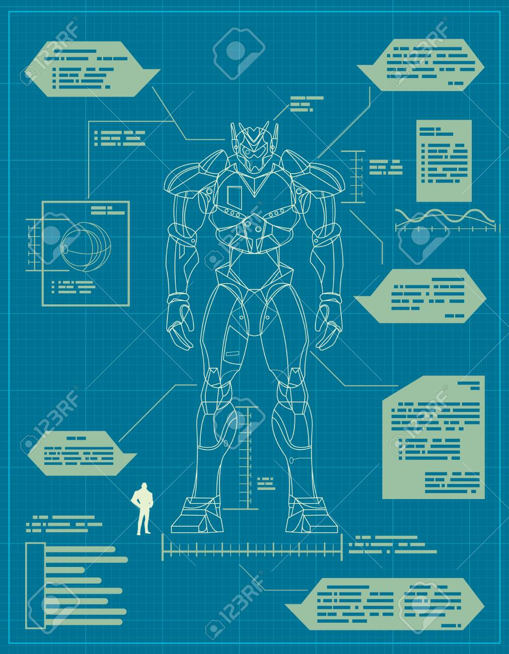 Blueprint for the construction of a giant robot. - 131539985