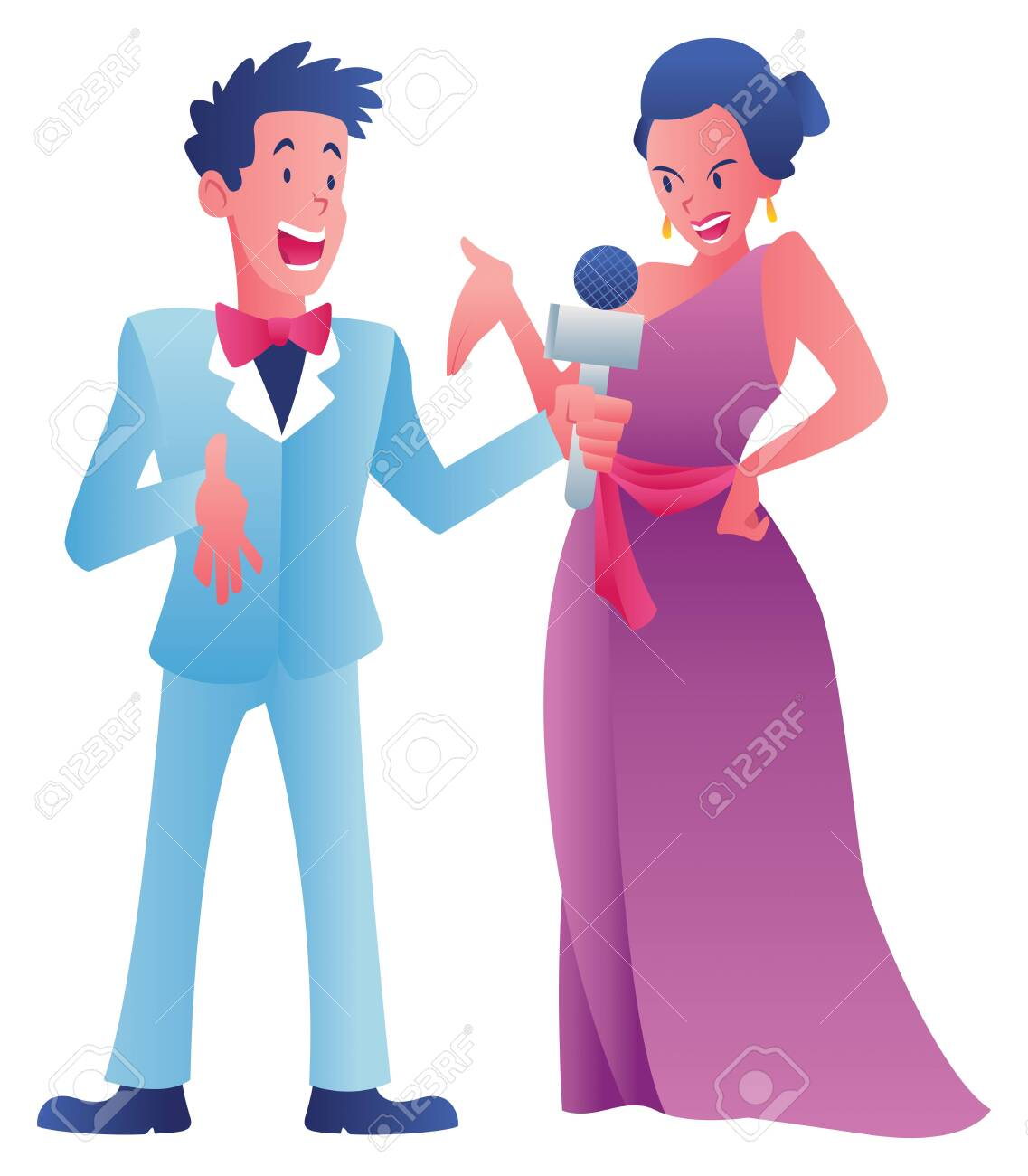 Cartoon illustration of a journalist interviewing a celebrity on white background. - 143534985
