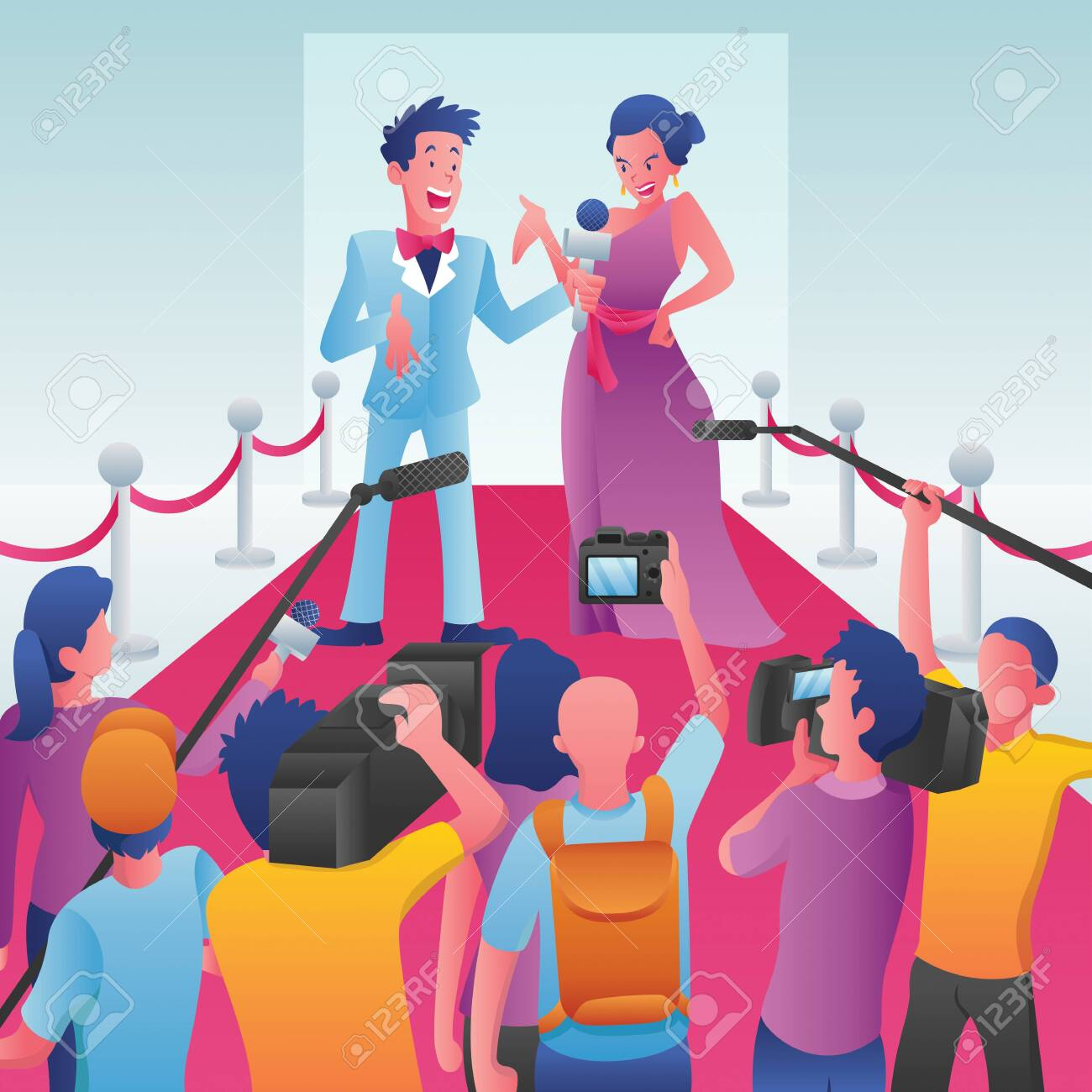 Cartoon illustration of a journalist interviewing a celebrity on a red carpet event. - 143560202