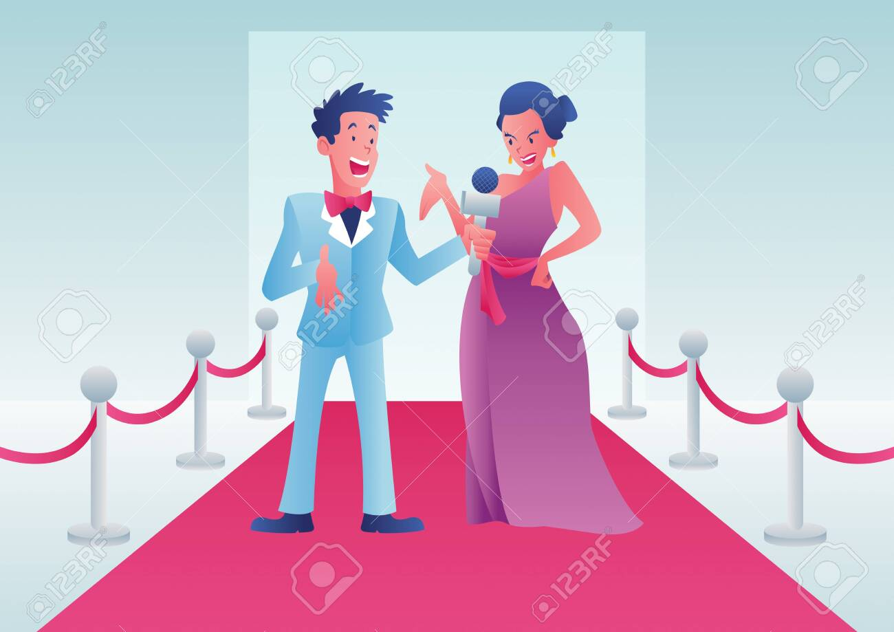 Cartoon illustration of a journalist interviewing a celebrity on a red carpet event. - 143692127