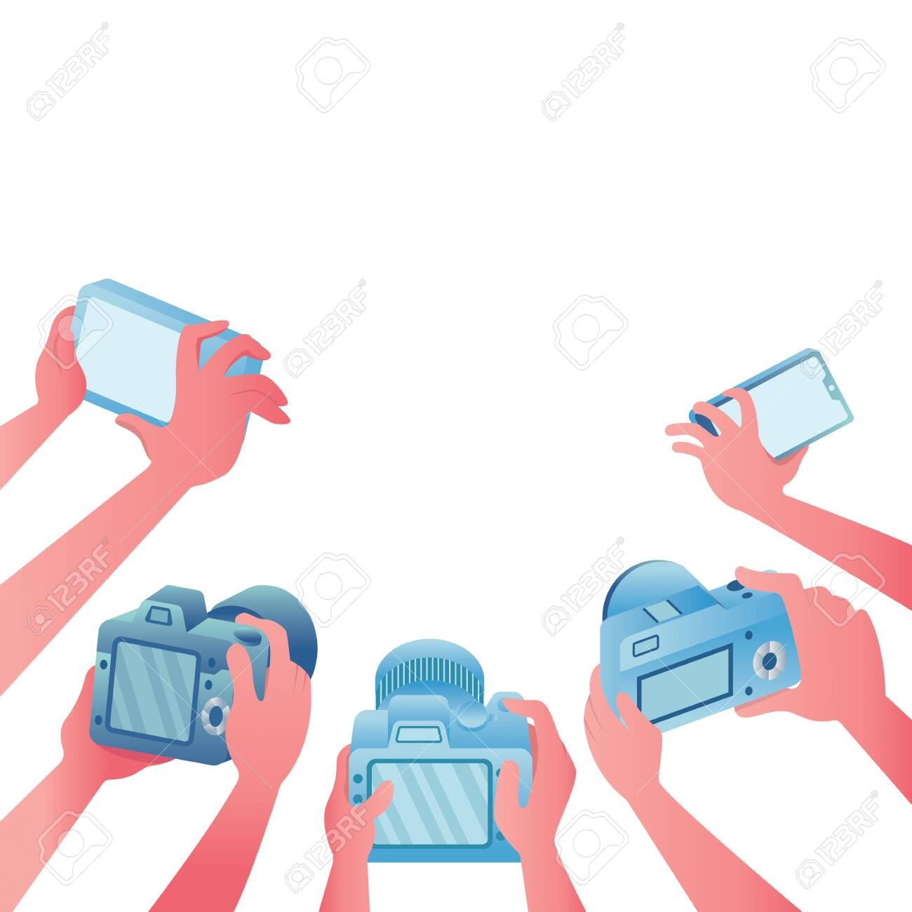 Cartoon illustration depicting a group of reporters at work on white background. - 143560290