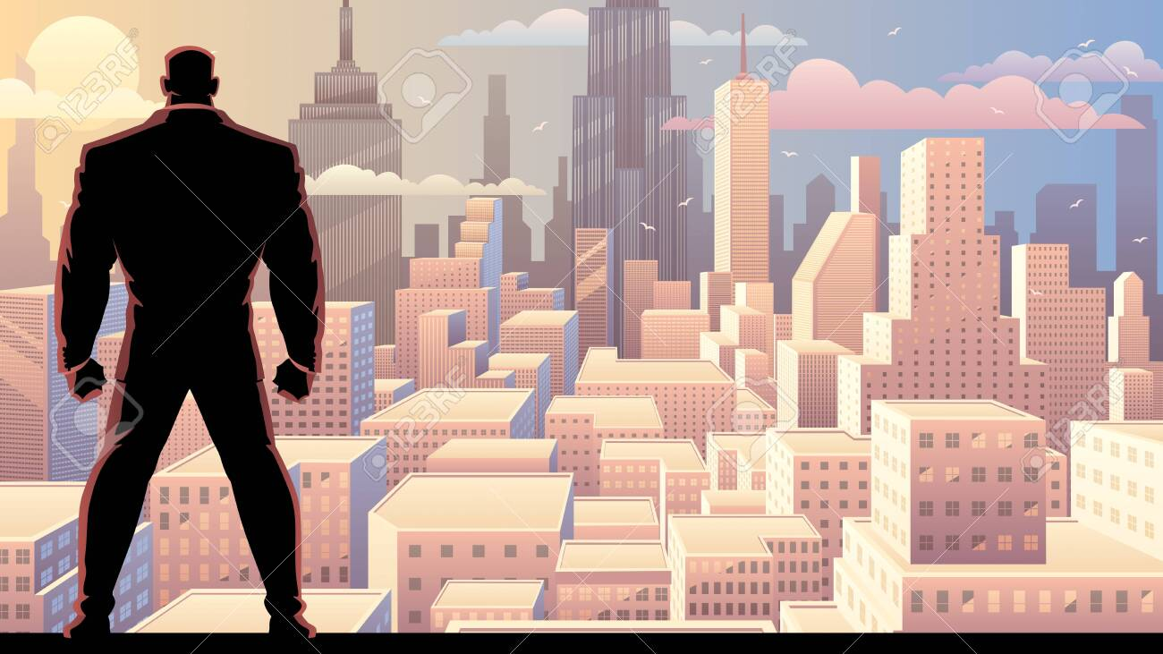 Businessman watching over city at sunrise or sunset. - 147485889