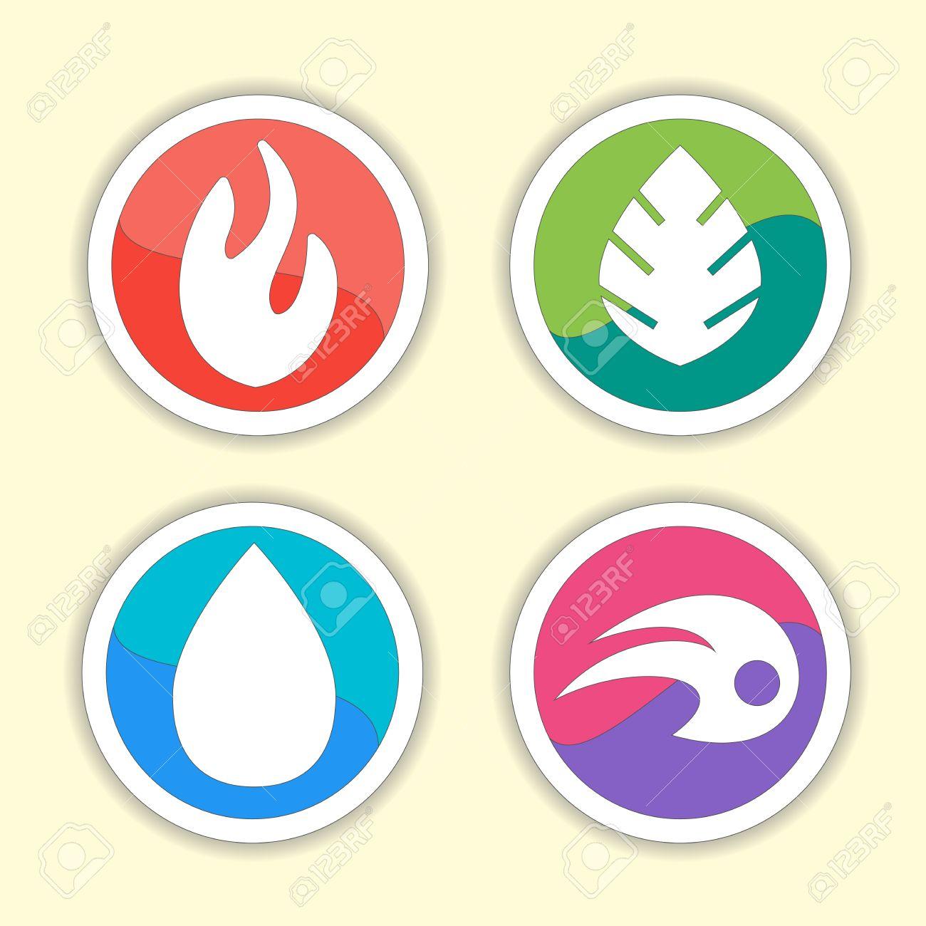 Natürliche Elemente - Vektor-Icons Gesetzt. Satz Von Vier Elemente ...