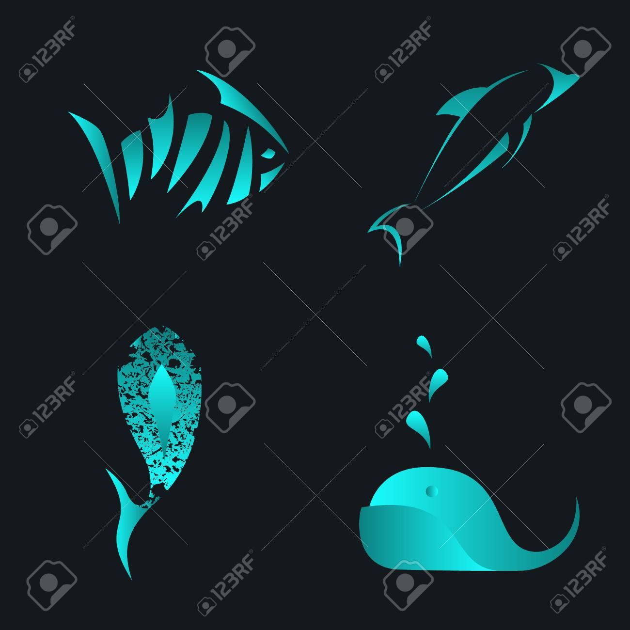 Set Of Fish, Whale And Dolphin Abstract Vector Icon And Logo ...