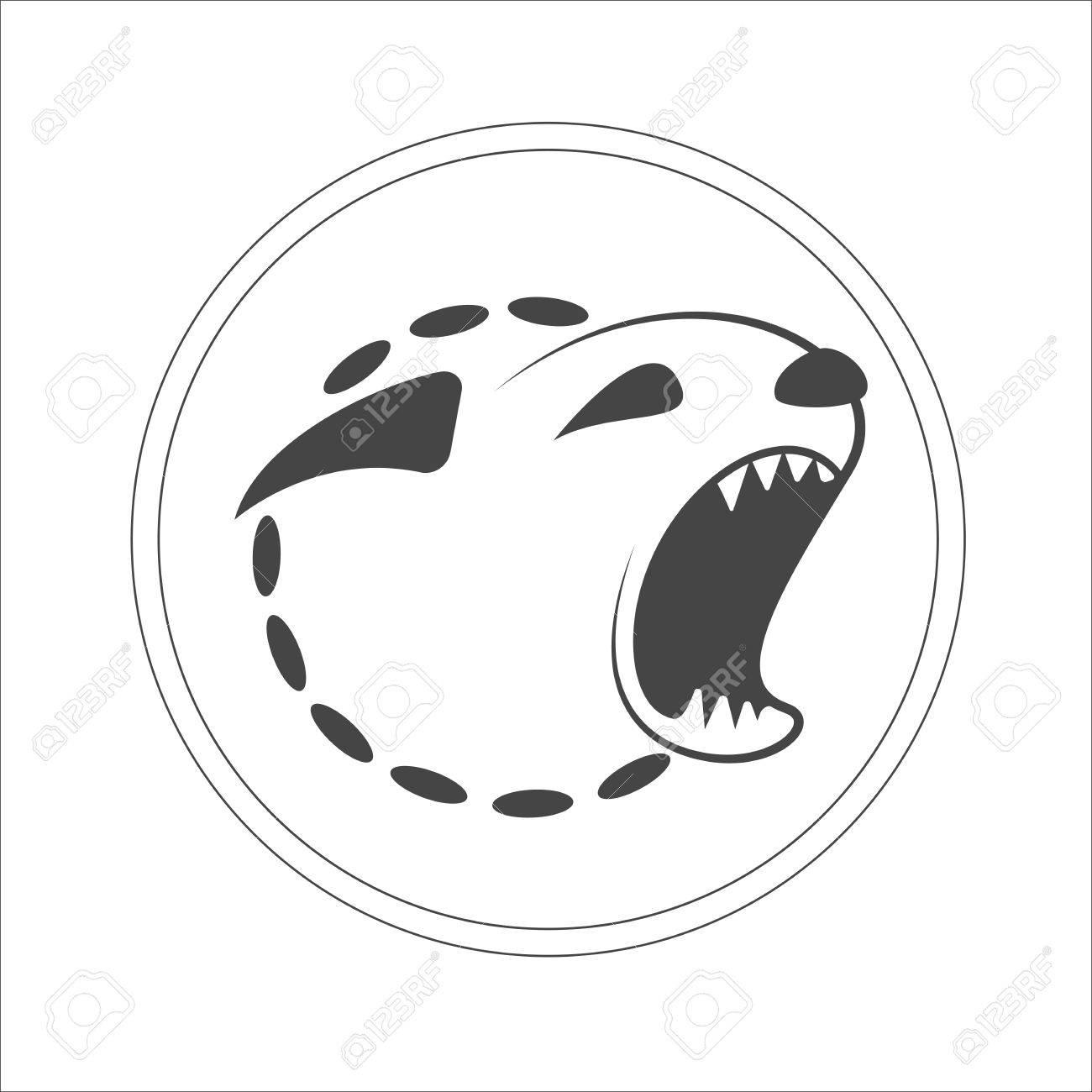 Ladrando Plantilla Cabeza Silueta Del Perro Monocromático Logotipo