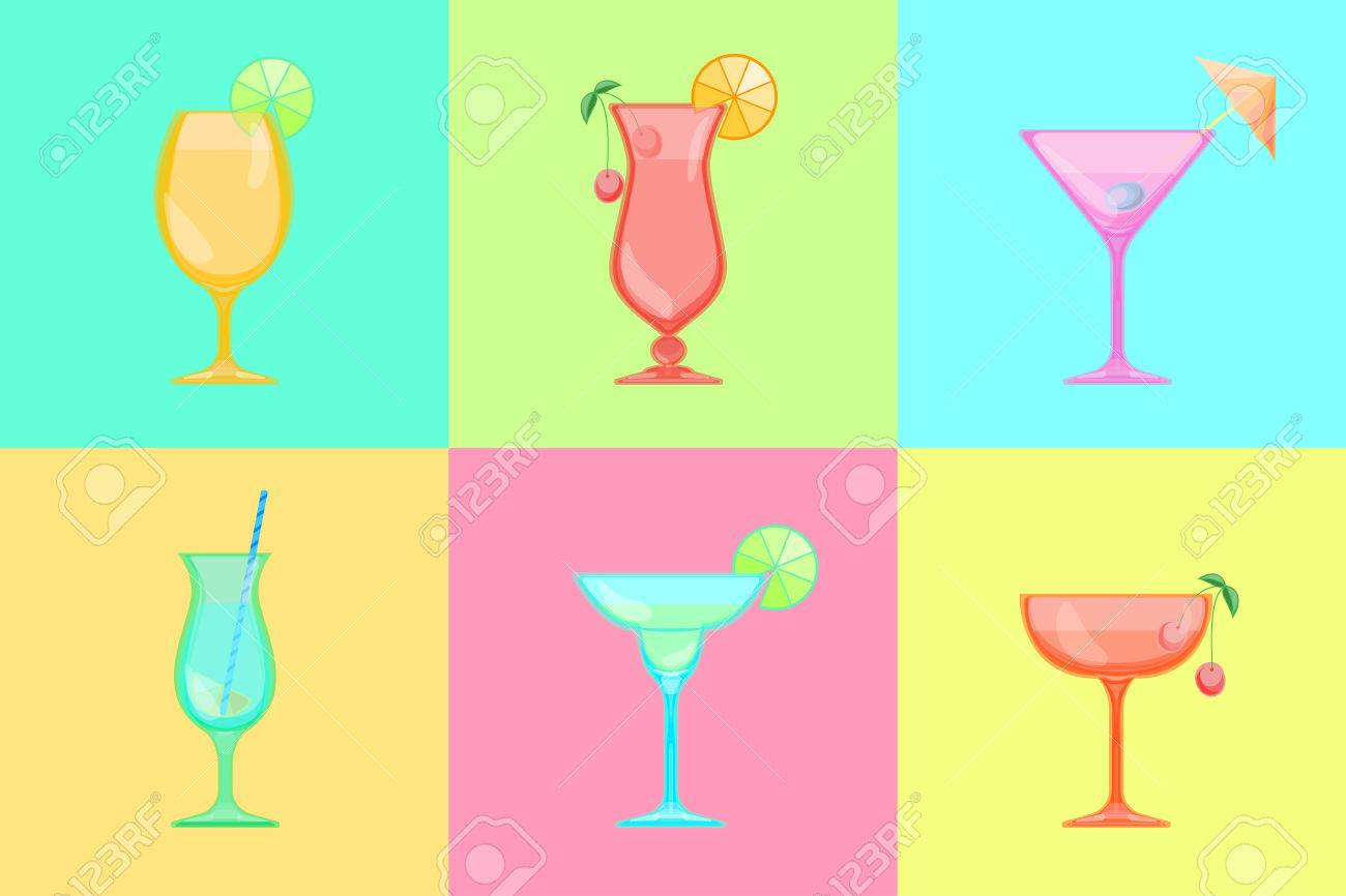 Set Of Cocktail Icons Martini And Margarita Saucer And Champagne Royalty Free Cliparts Vectors And Stock Illustration Image 59193334