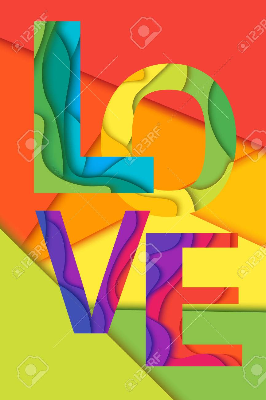 Love Word Mockup Print Colored Graphic Layered Design For T Shirt Or Poster Background
