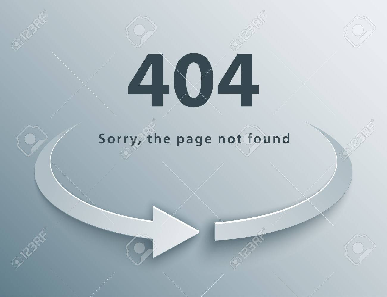 404 page not found template with reboot round arrow in 3d paper