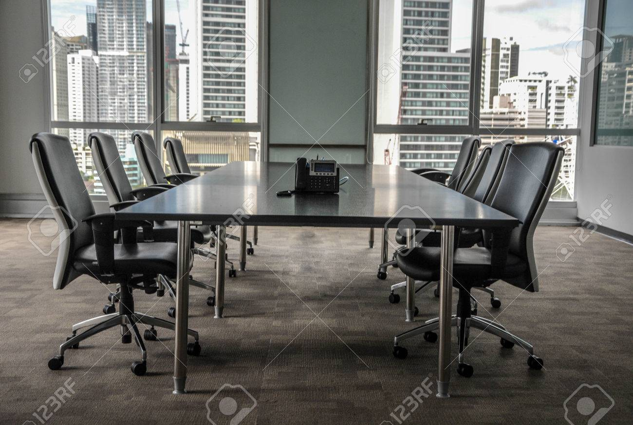 Stock Photo   Urban Office Space And Meeting Room Surrounded With  Skyscrapers View