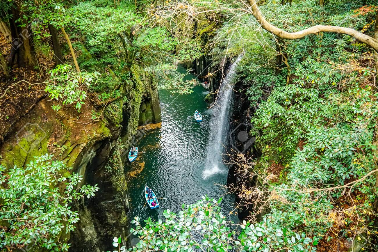 A Nature Landscape View Of Fresh Rain Forest Waterfall Of Takachino Stock Photo Picture And Royalty Free Image Image 147716334