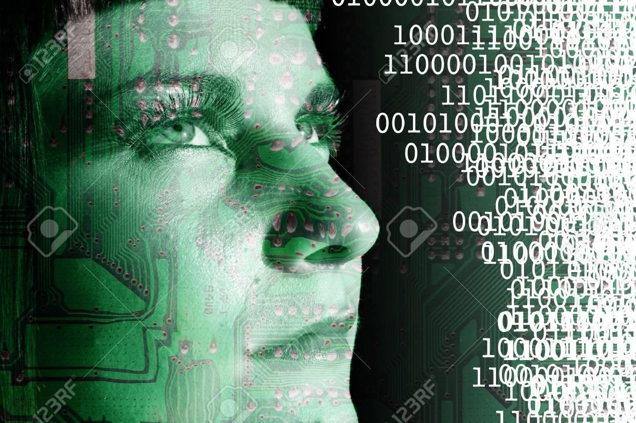 Cyborg reading a binary code - 13487683