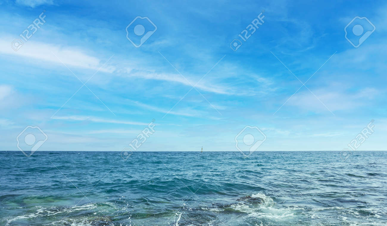 Blue sea and sky with clouds - 165255302