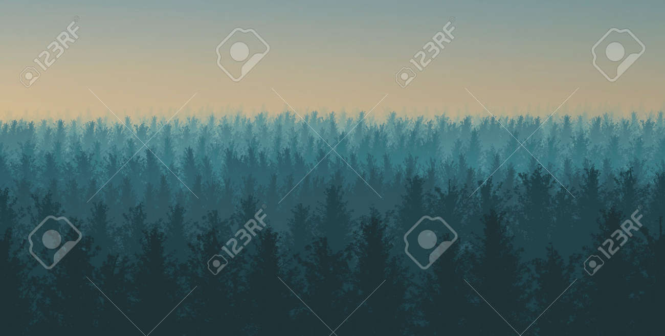 Illustration of a forest with fog at sunset - 166003502