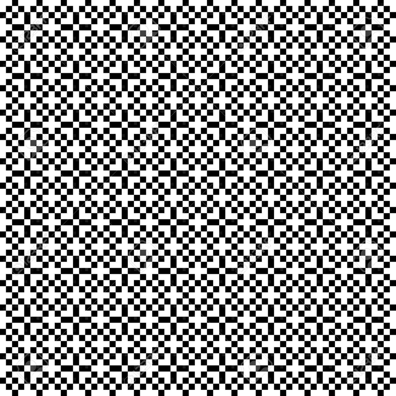 Illustration of a black and white pixel mosaic pattern - 166284623