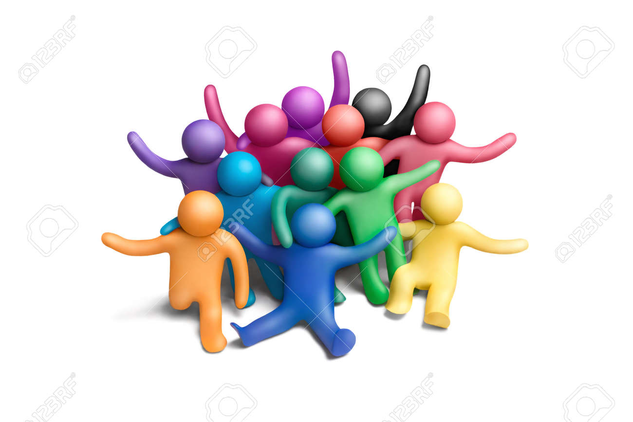 Multicolored group of plasticine people on a white background - 10564398