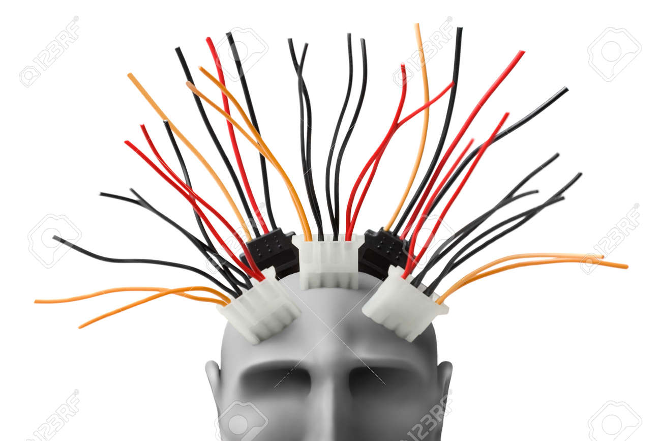 Human head  with wires made of plasticine Stock Photo - 10564486