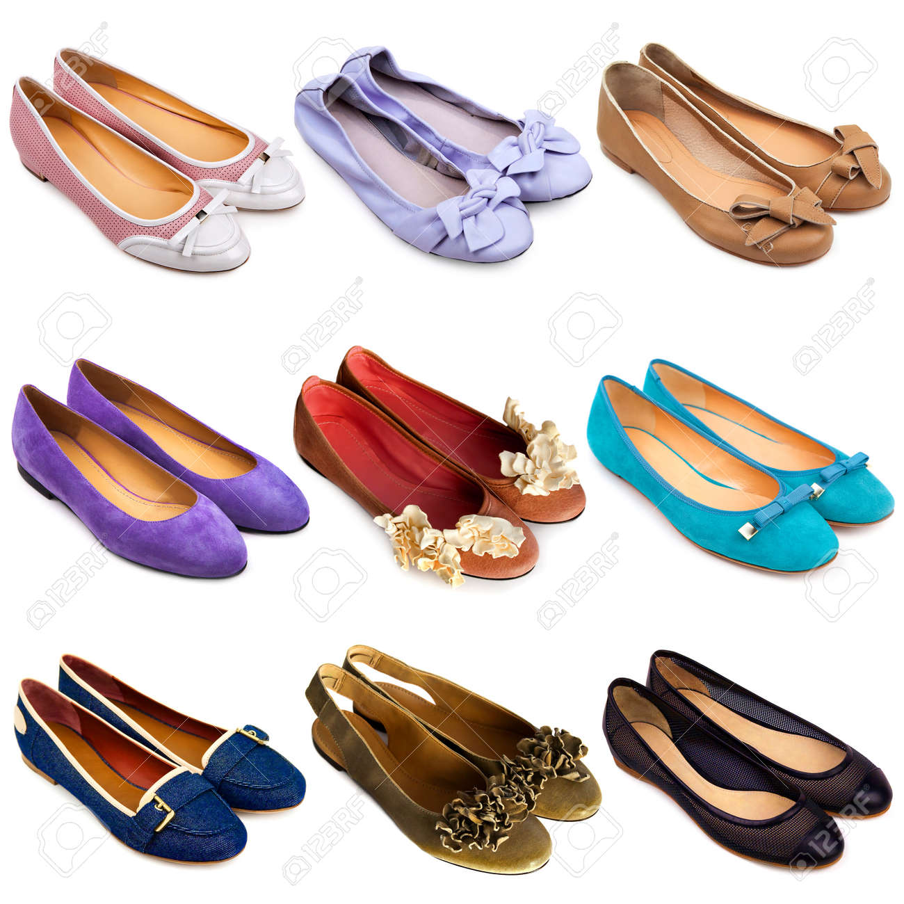 Set Of Multicoloredfemale Ballet Flat Shoes On A White Background Flatshoes 9 Pieces Stock Photo