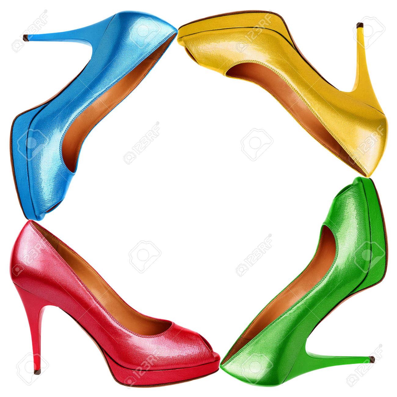 Multicolored female shoes background Stock Photo - 14513622