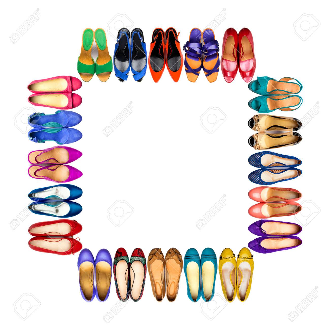 Set Von Bunten Weiblichen Schuhe In Rahmen Auf Weißem Hintergrund ...