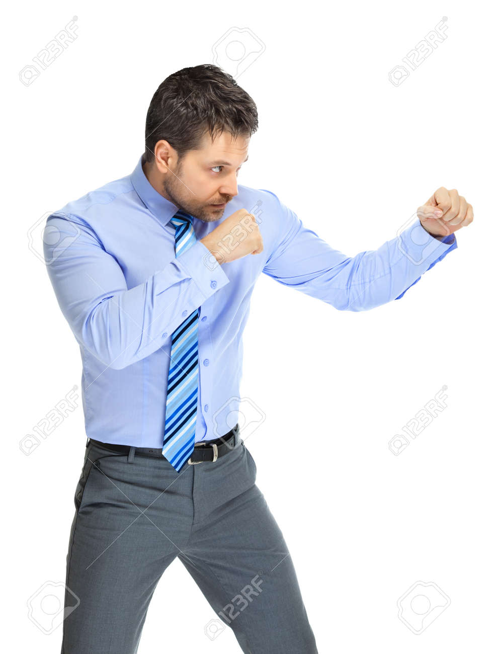 office clerk in boxing stance on white background stock photo office clerk in boxing stance on white background stock photo 18310363