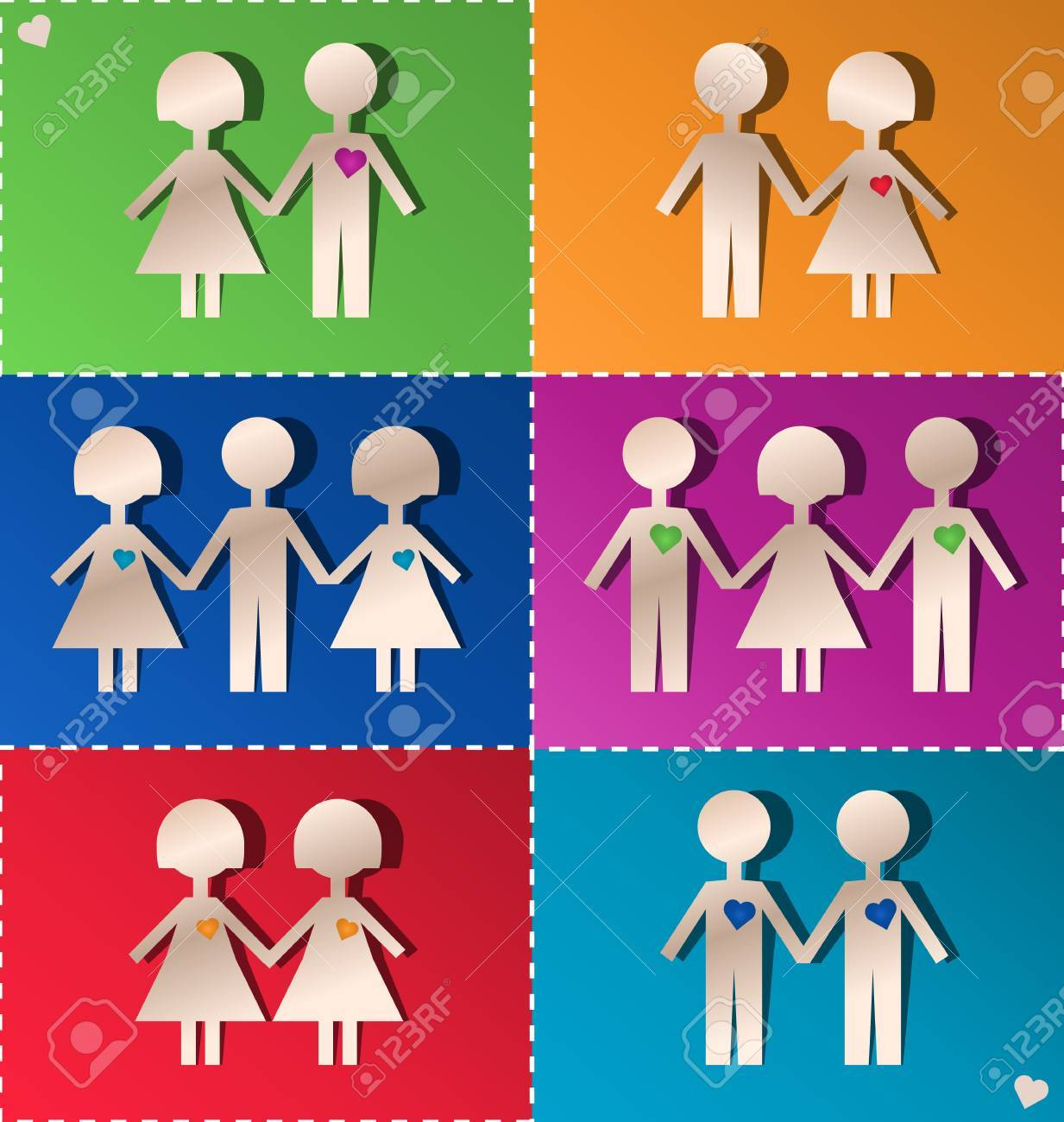 Paper clipping of couples and threesomes Stock Vector - 17111704