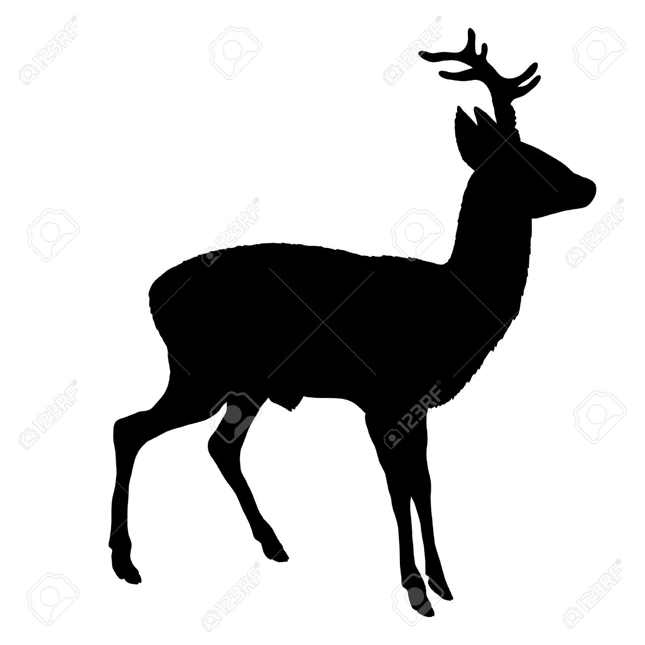 roe deer silhouette royalty free cliparts vectors and stock rh 123rf com deer head silhouette free vector deer family silhouette vector