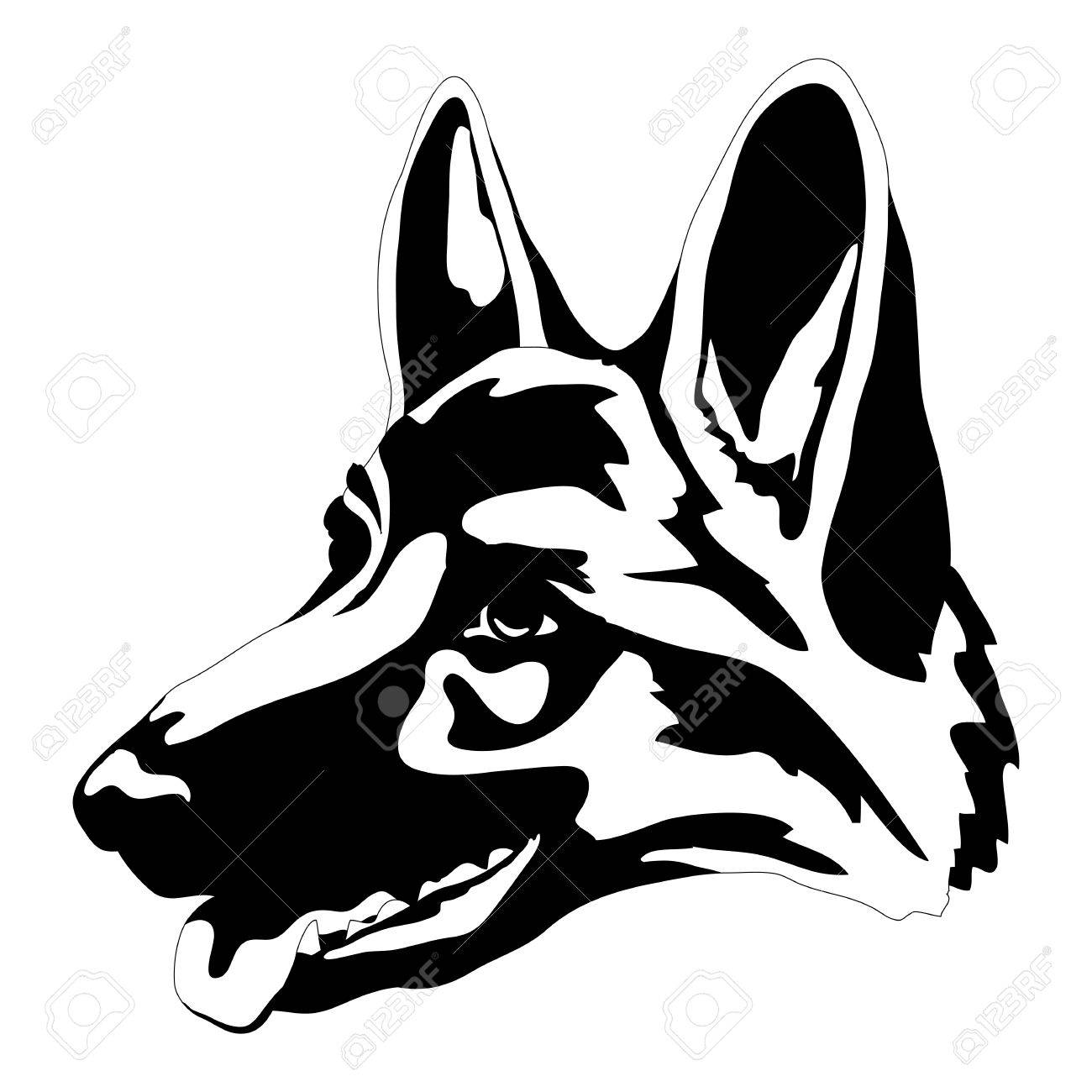German Shepherd Dog Head Face Black Silhouette